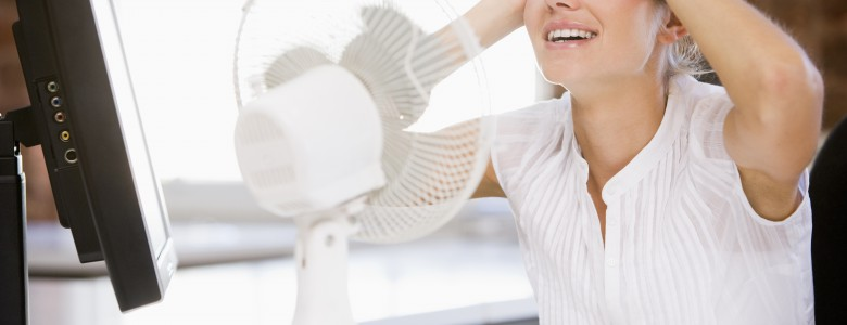 Desk fans help workers keep cool